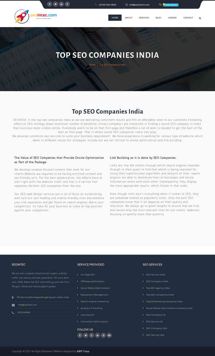 List of the Top SEO Companies in India