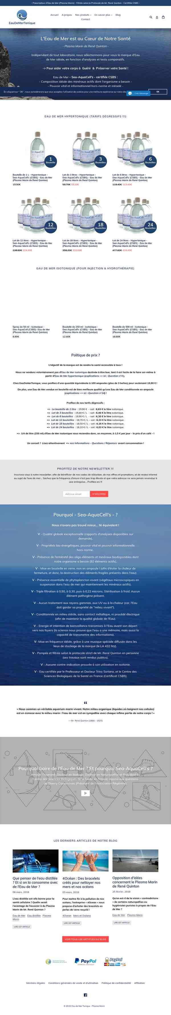 Eau de Mer (Plasma Marin) filtrée selon le protocole de René Quinton ! – Eau de Mer Tonique - P…
