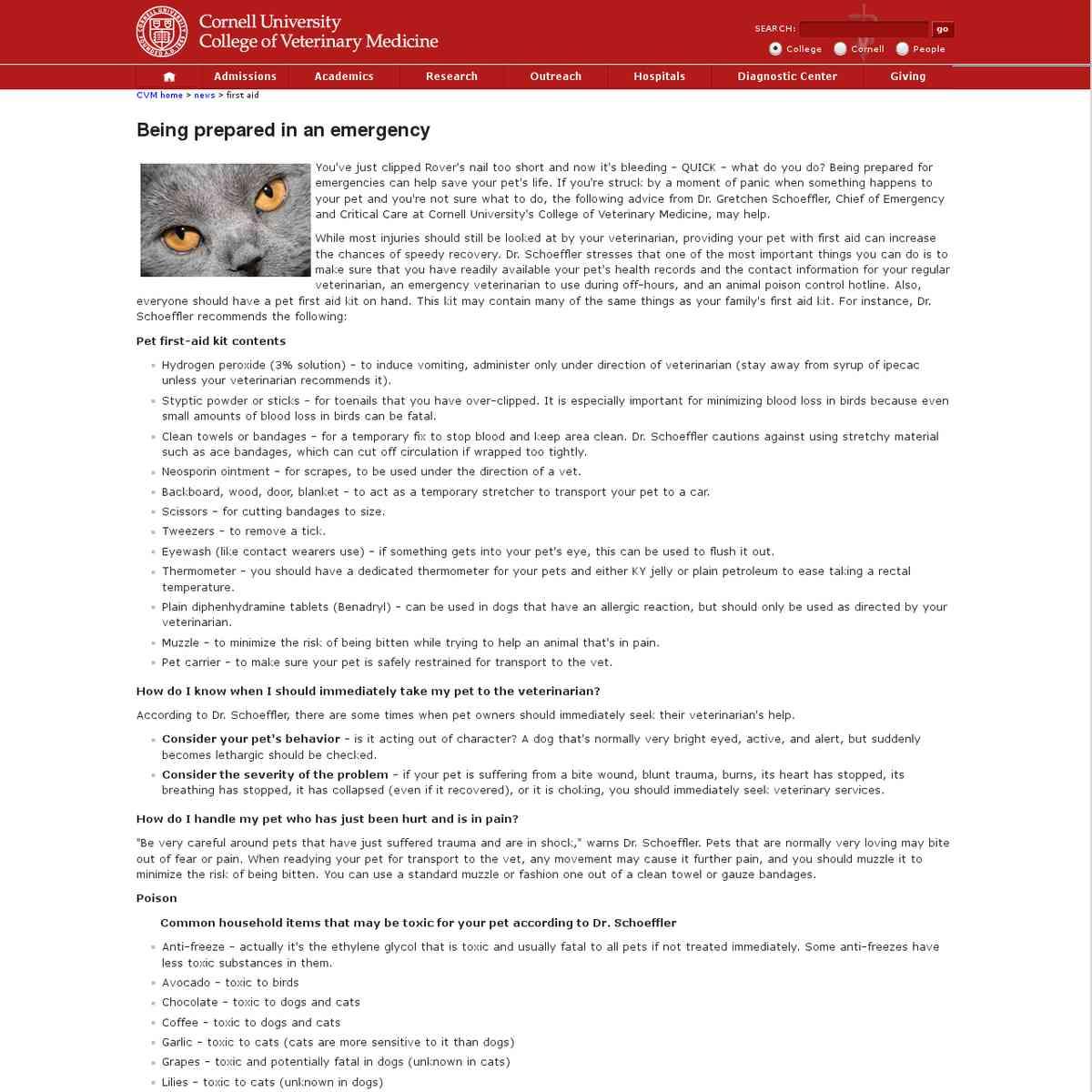 Cornell University: Pet First Aid