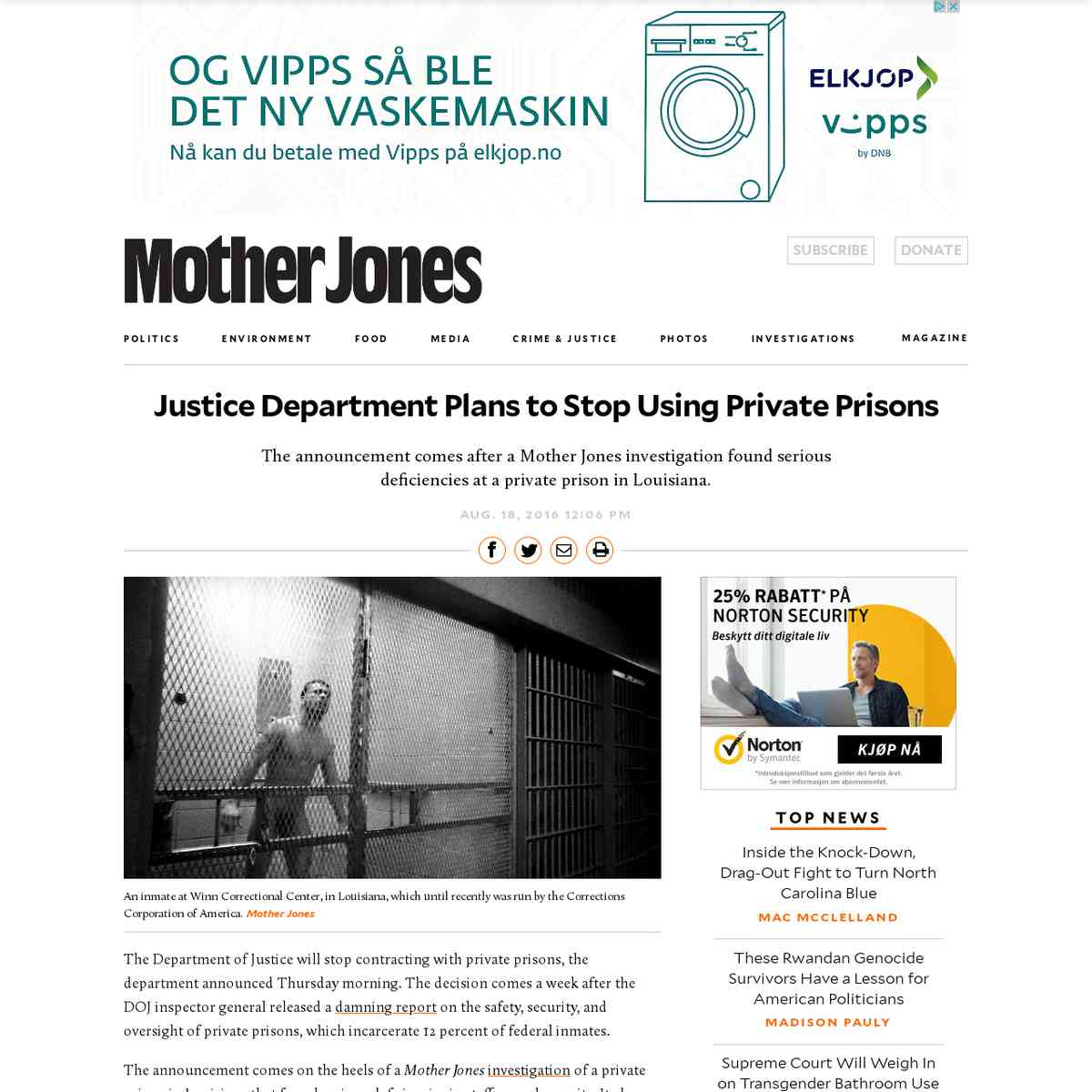 Justice Department Plans to Stop Using Private Prisons | Mother Jones
