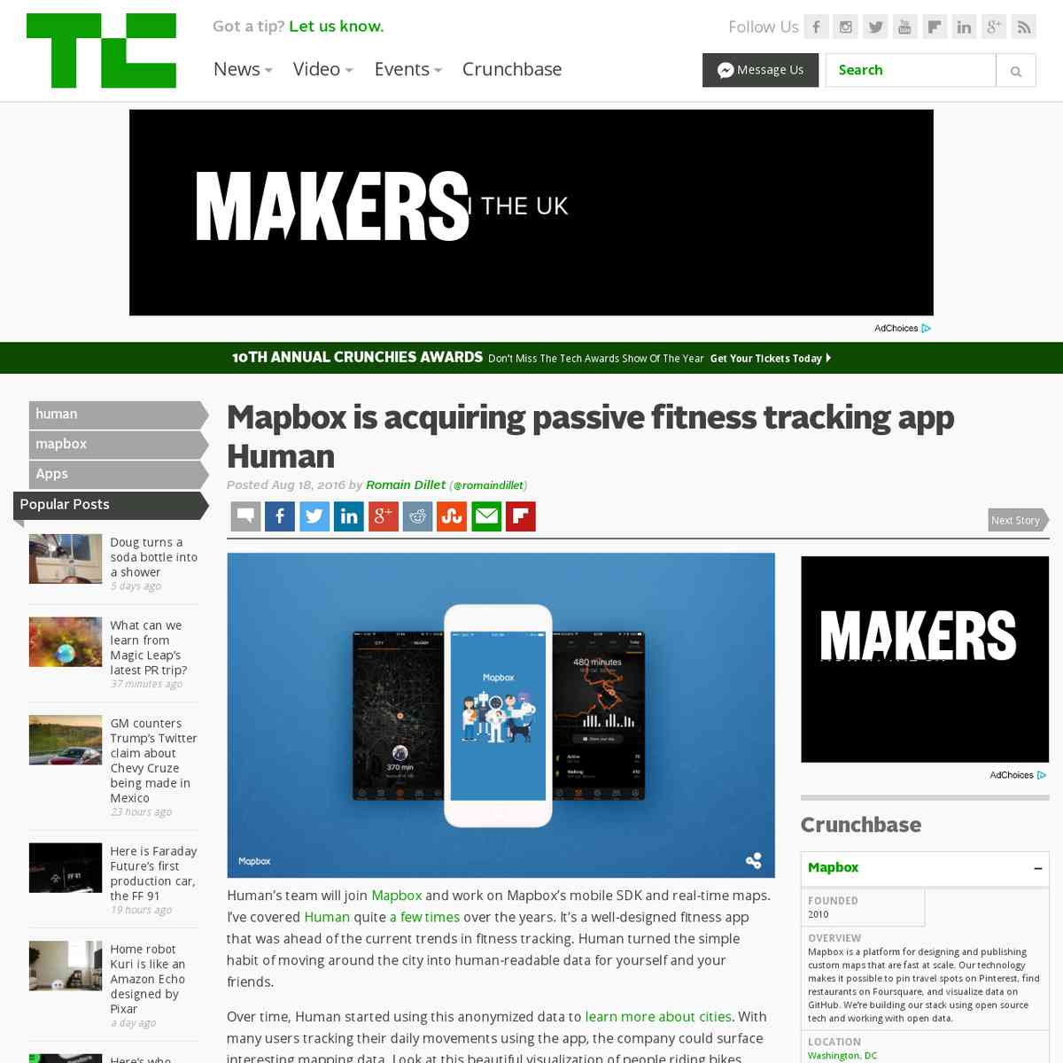 Mapbox is acquiring passive fitness tracking app Human | TechCrunch