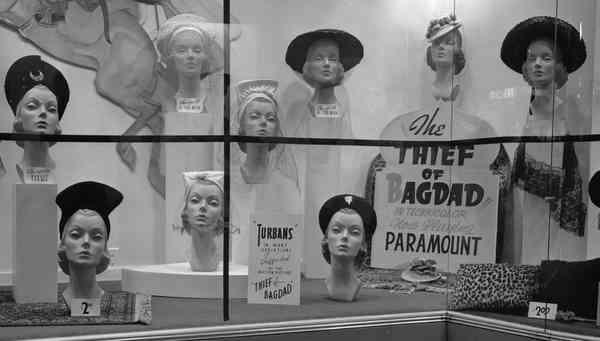 """""""Thief of Bagdad"""" hat display, Salt Lake City, UT, 1940"""