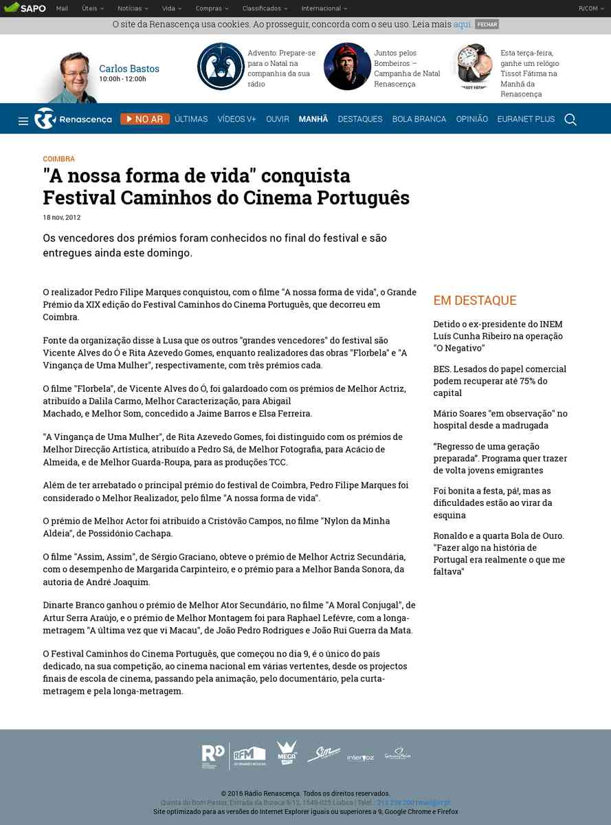 """""""A nossa forma de vida"""" conquista Festival Caminhos do Cinema Português   Renascença"""