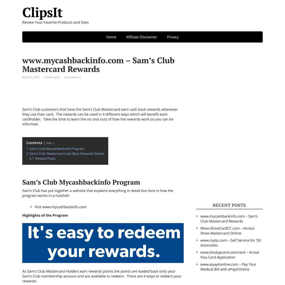 MyCashBackInfo Sam's Club Mastercard