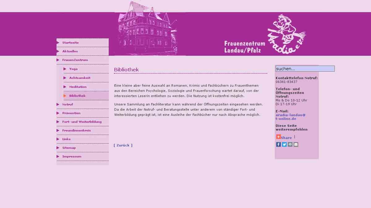 www.aradia-landau.de - Bibliothek