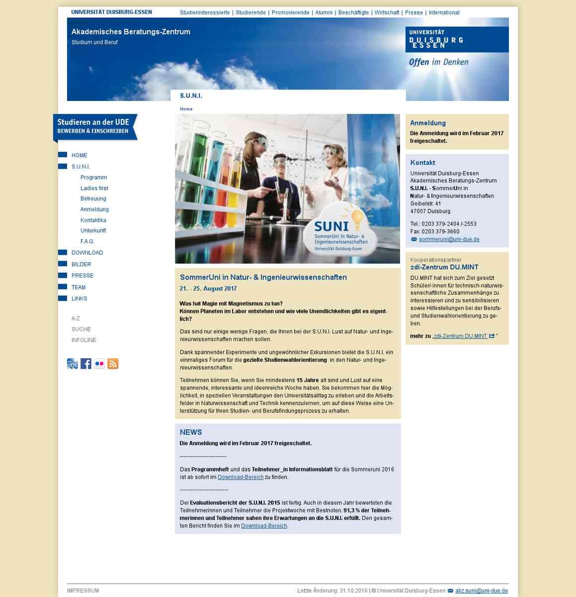 SommerUniversität für Frauen in Natur- und Ingenieurwissenschaften