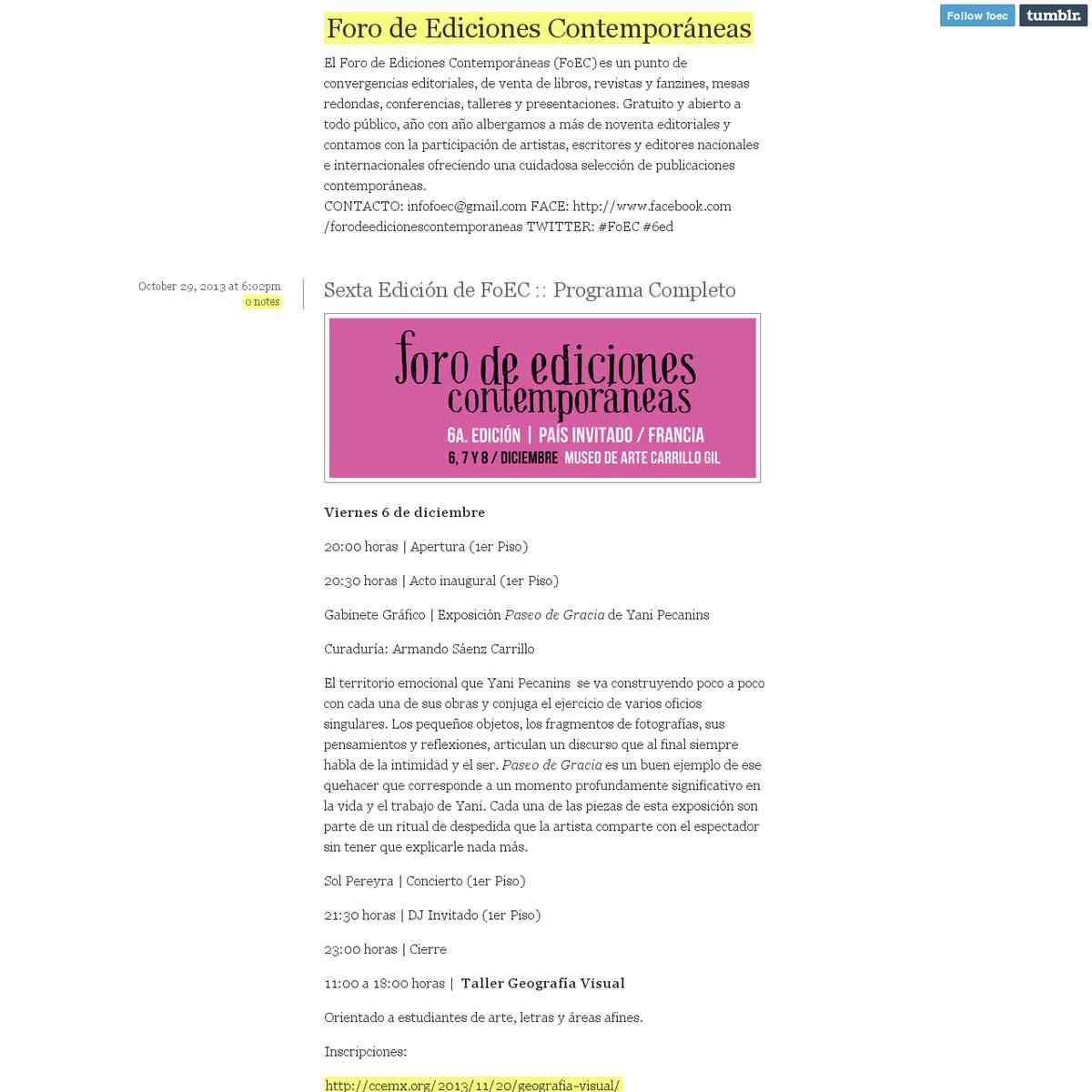 Del 6 al 8 de diciembre. Foro de Ediciones Contemporáneas