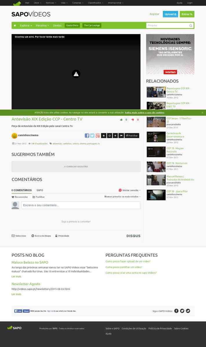 Antevisão XIX Edição CCP | Centro TV