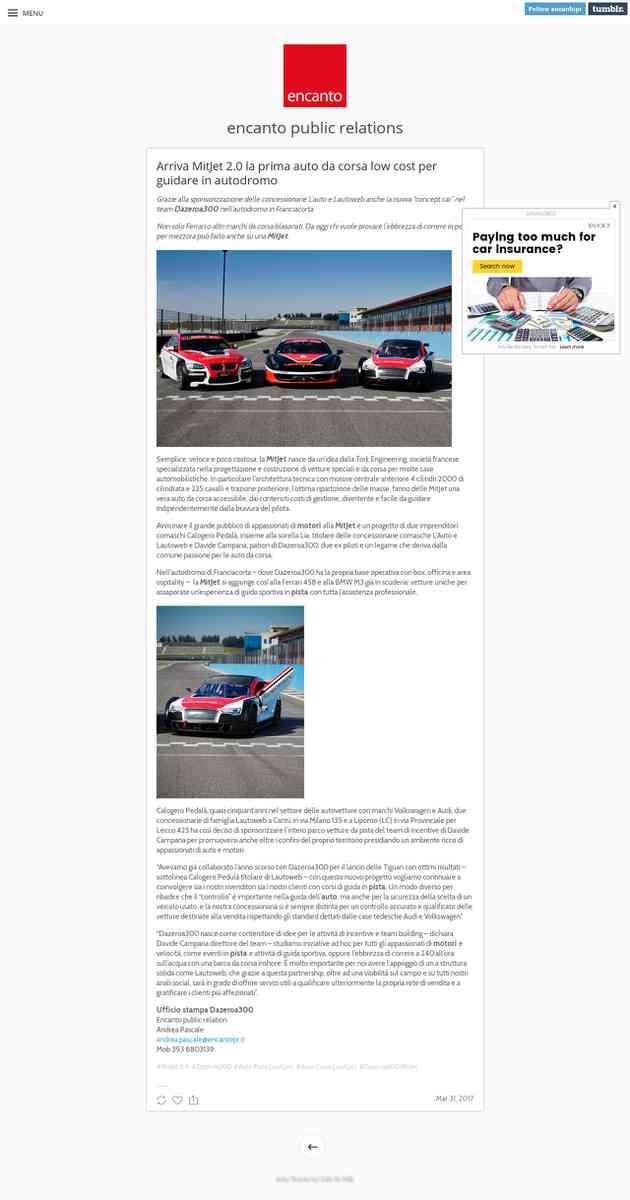"""Auto Corsa LowCost: arriva MitJet 2.0 la nuova """"concept car"""" da provare in pista"""