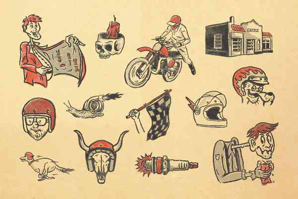 Motorcycle Vintage Illustrations