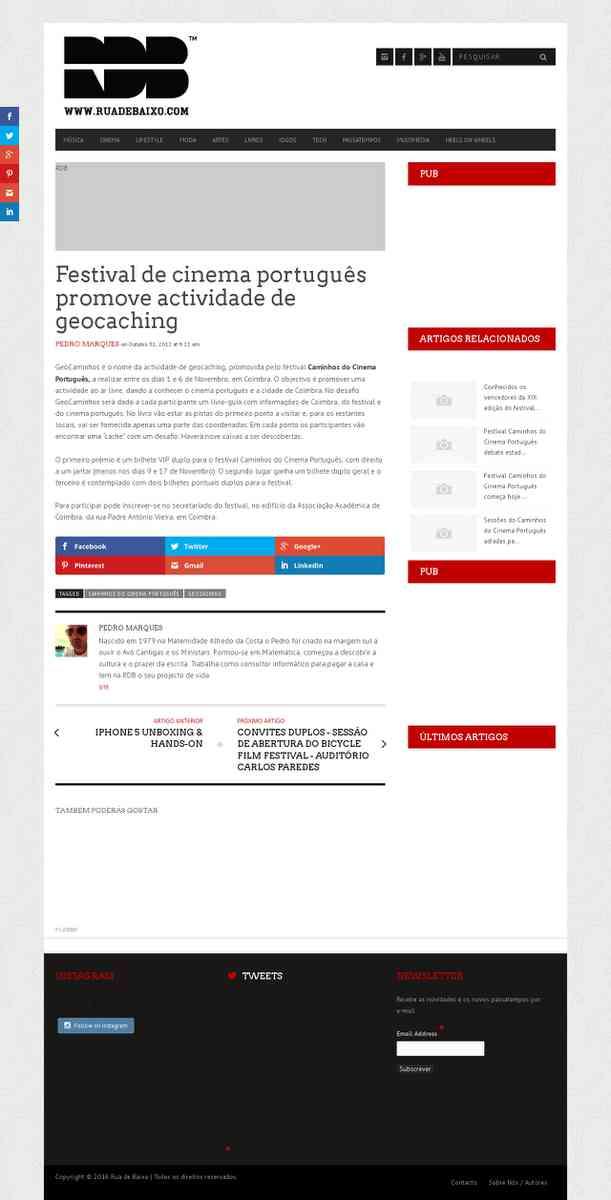 Festival de cinema português promove actividade de geocaching | ruadebaixo.com