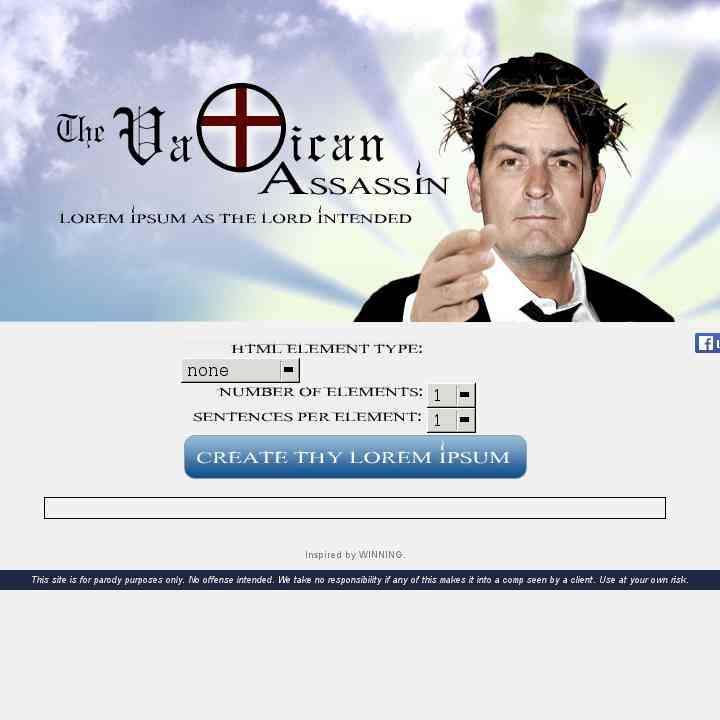 Vatican Assassin (Charlie Sheen Ipsum)