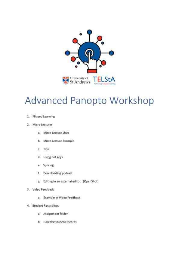 Advanced Lecture Capture Workshop