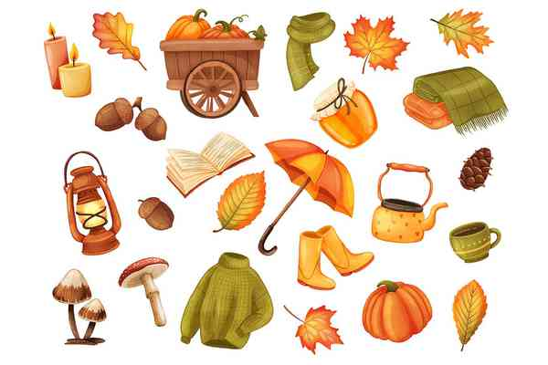 $ Autumn Realistic Stickers Set