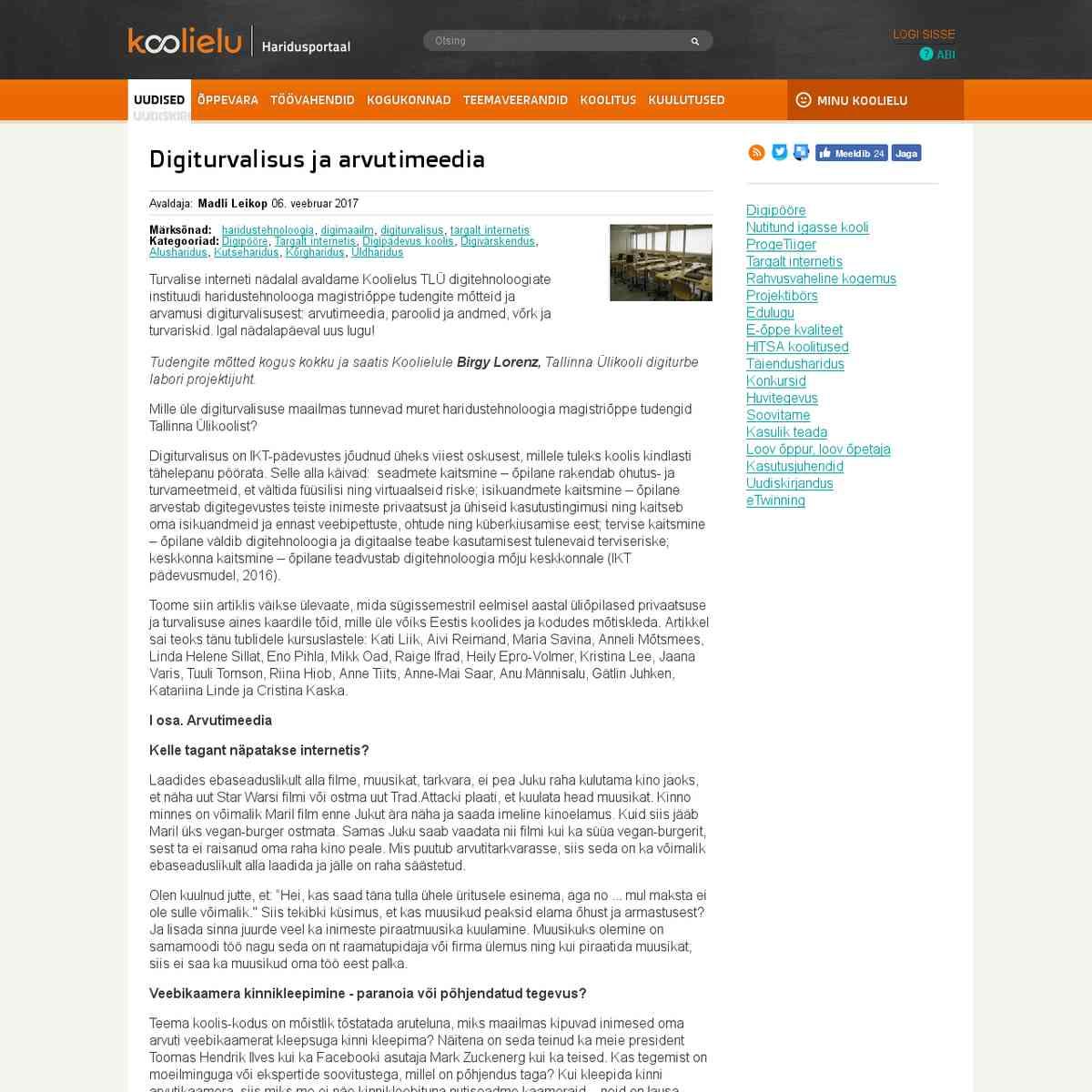 Digiturvalisus ja arvutimeedia : Koolielu