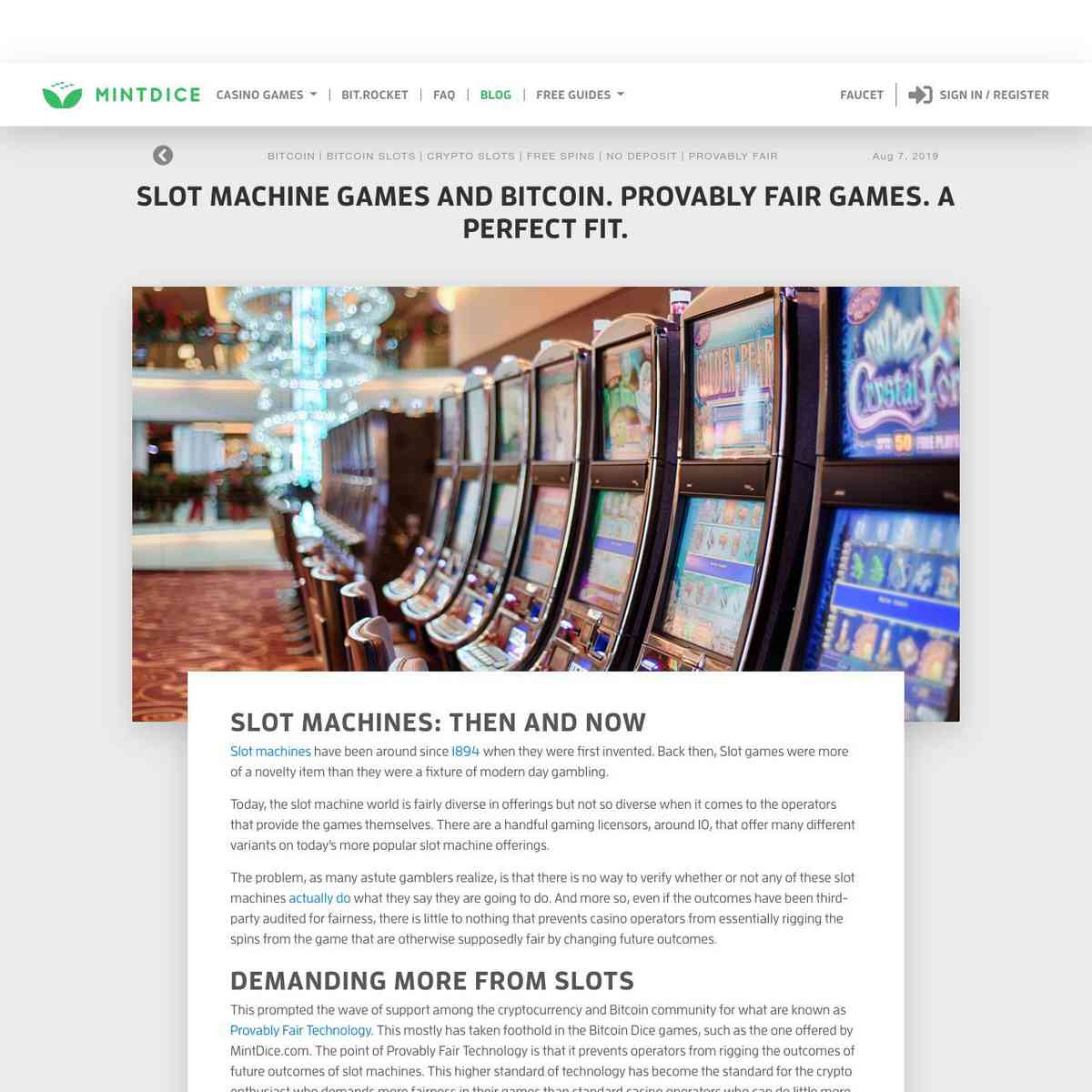 Slot Machine Games And Bitcoin. Provably Fair Games. A Perfect Fit.