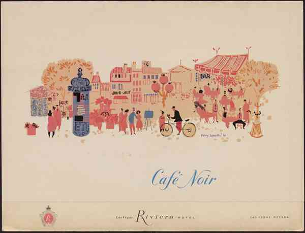 Illustration by Emily Syminton, 1960. Café Noir menu, Riviera Hotel and Casino