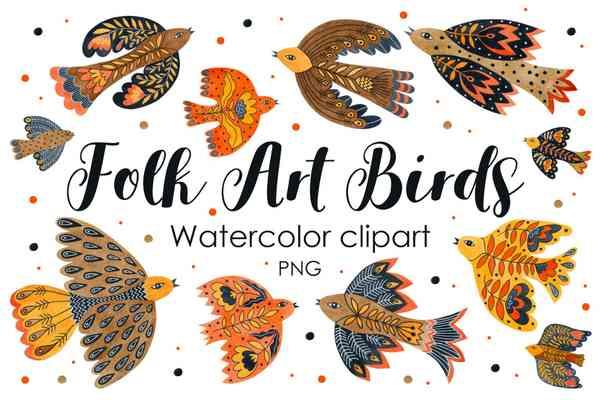 Watercolor folk art birds