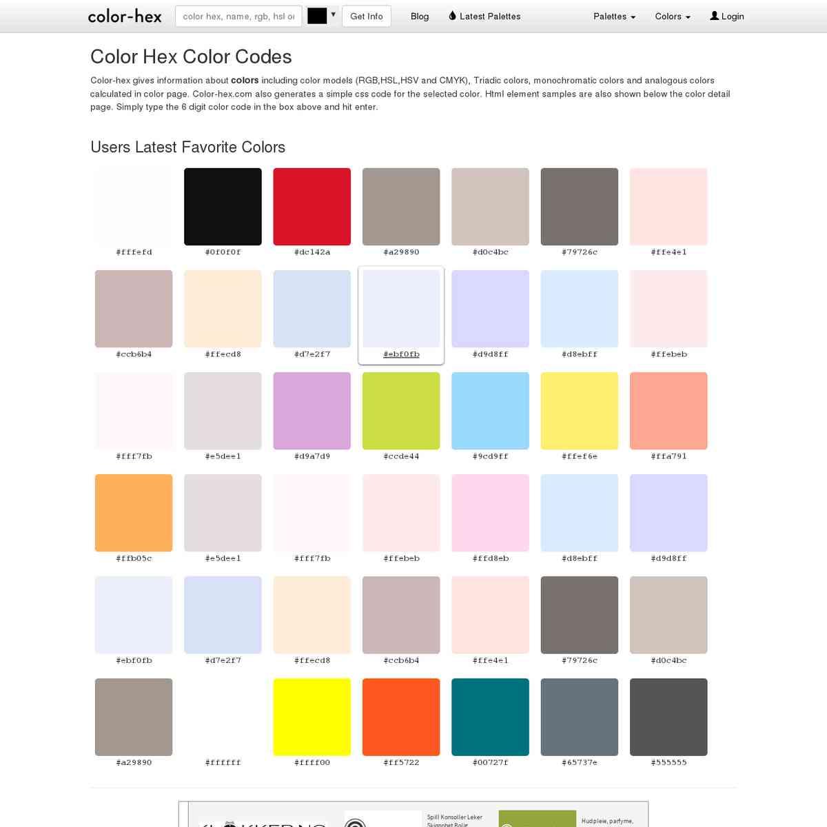 Color Hex Color Codes - Colour online tools & tutorials