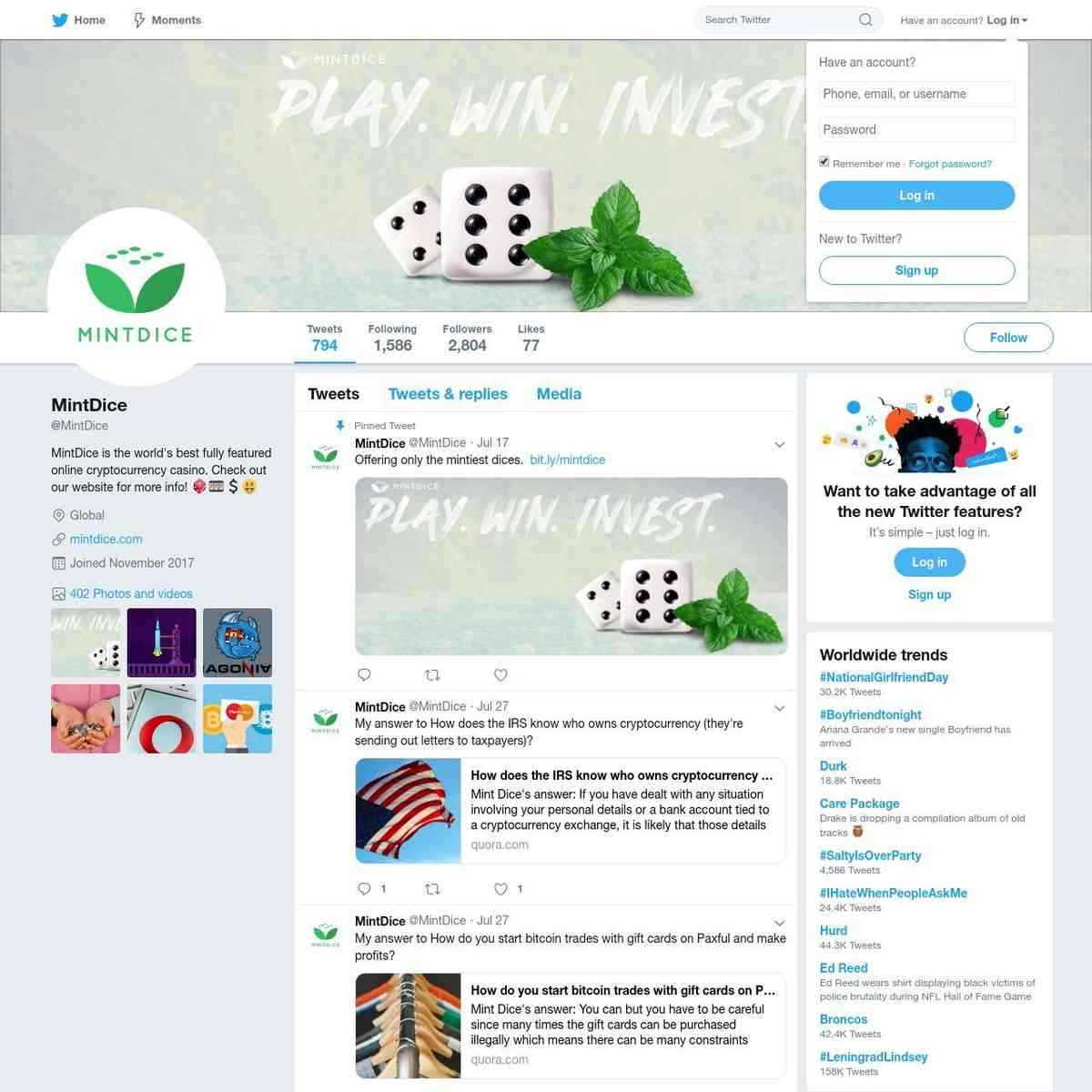 Bitcoin Twitter Crypto Twitter From MintDice BItcoin Casino Account