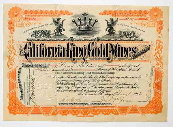 1902 California King Gold Mines Stock Certificate