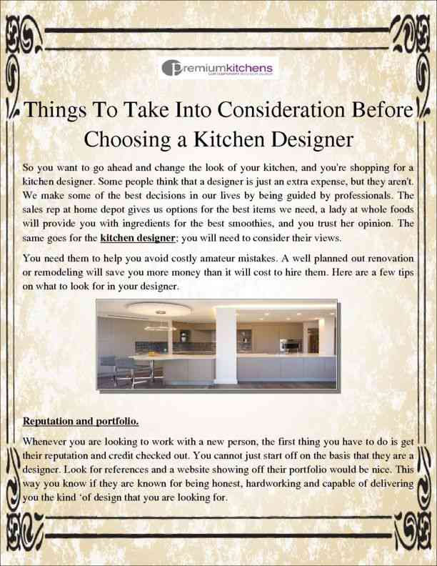 Things To Take Into Consideration Before Choosing a Kitchen Designer