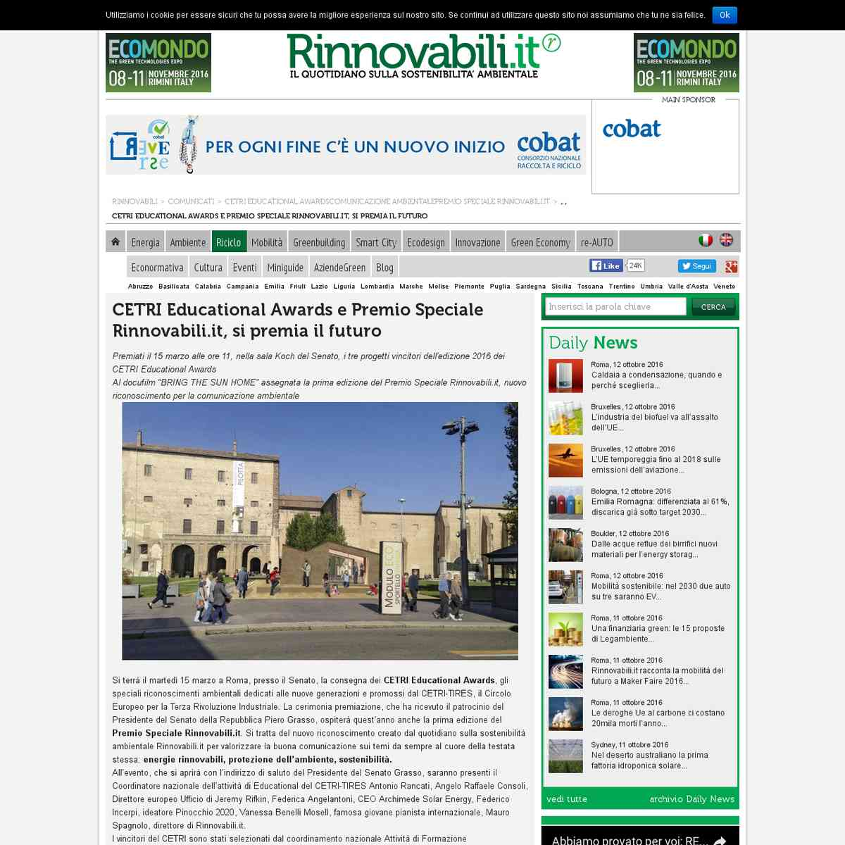 CETRI Educational Awards e Premio Speciale Rinnovabili.it
