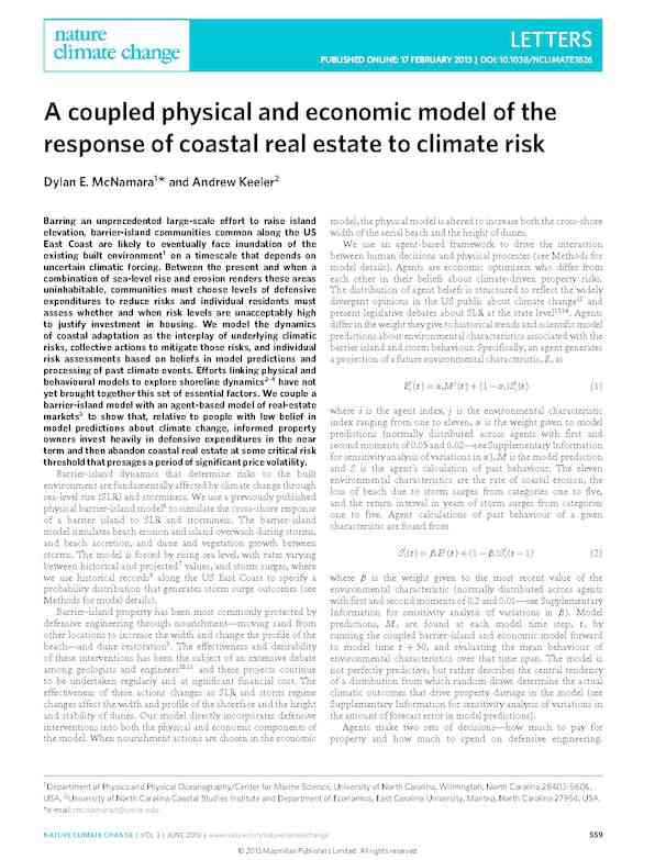 A coupled physical and economic model of the response of coastal real estate to climate risk