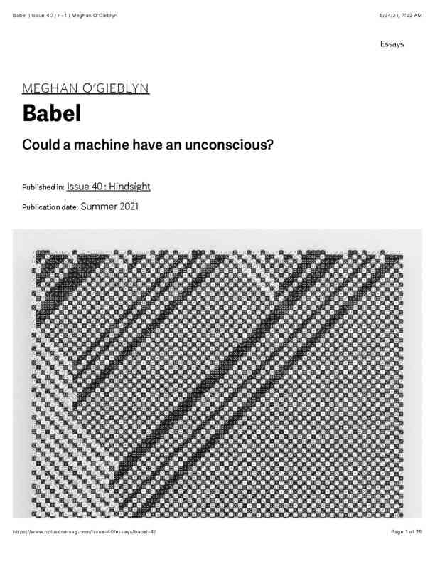Babel   Issue 40   n+1   Meghan O'Gieblyn