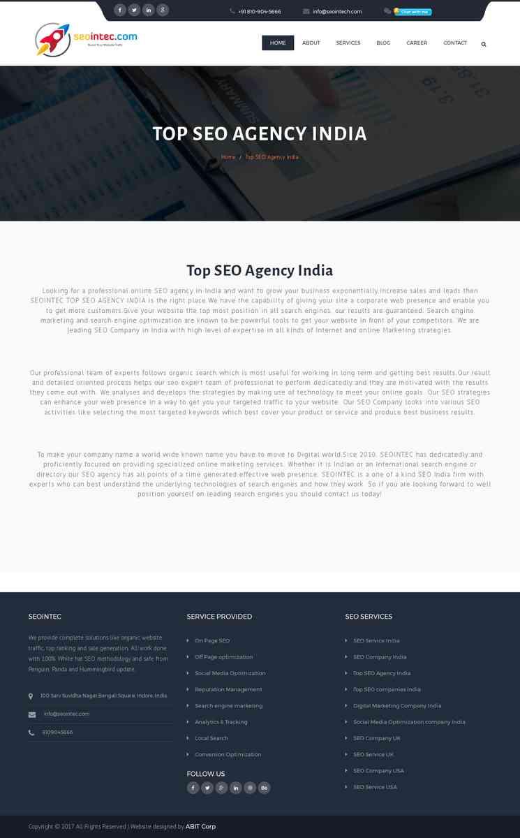 Top Digital Marketing SEO Agency Company in India