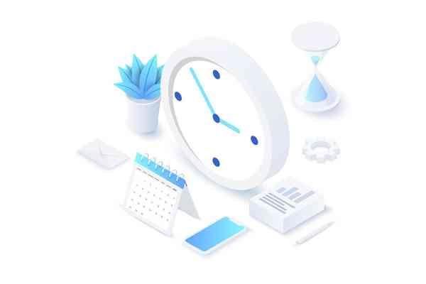 $ Isometric Time Management Illustration