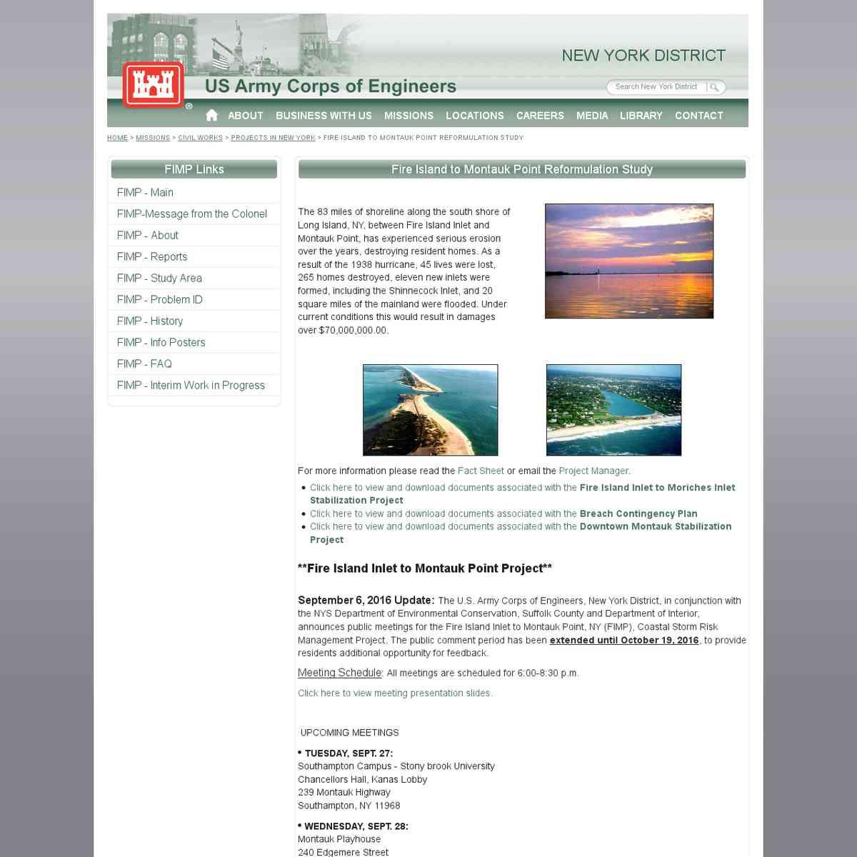 Fire Island to Montauk Point Reformulation Study