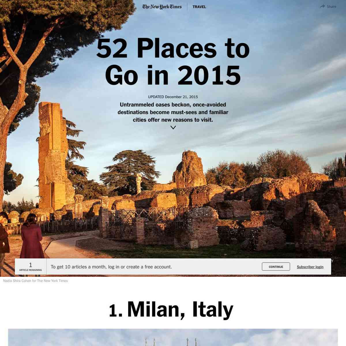 52 Places to Go in 2015 - NYTimes.com
