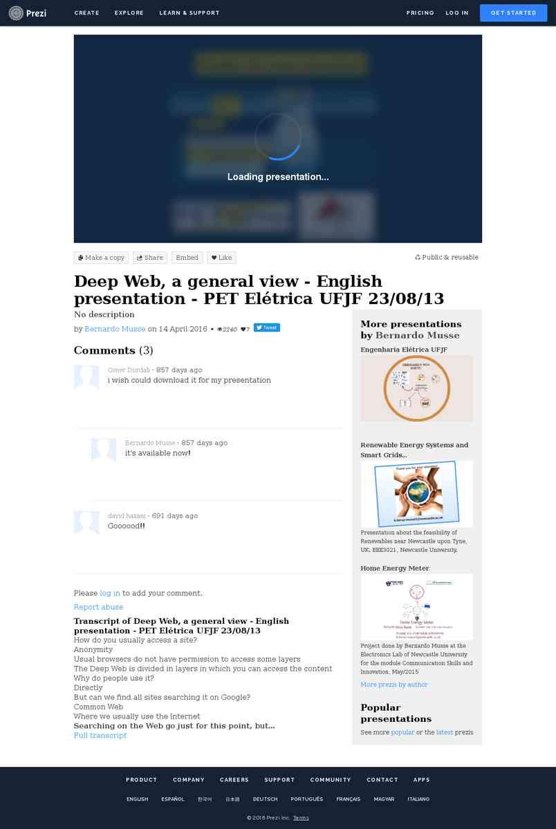 Deep Web, a general view - English presentation - PET Elétrica UFJF 23/08/13 by Bernardo Musse on …