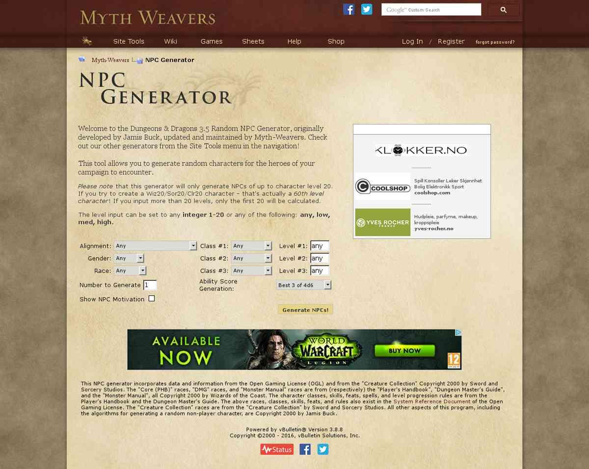 NPC - Myth-Weavers NPC Gen