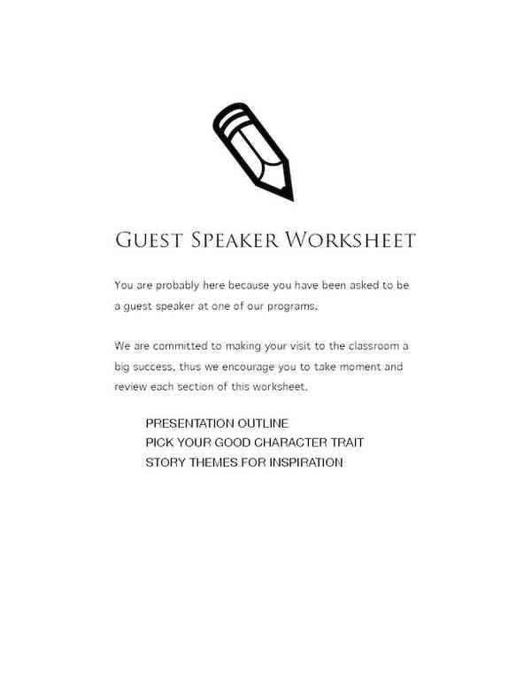 Guest Speaker Worksheet