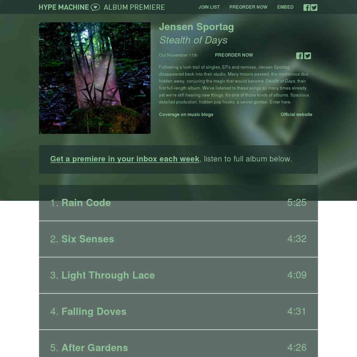 Jensen Sportag - Stealth of Days: Exclusive Album Premiere on Hype Machine