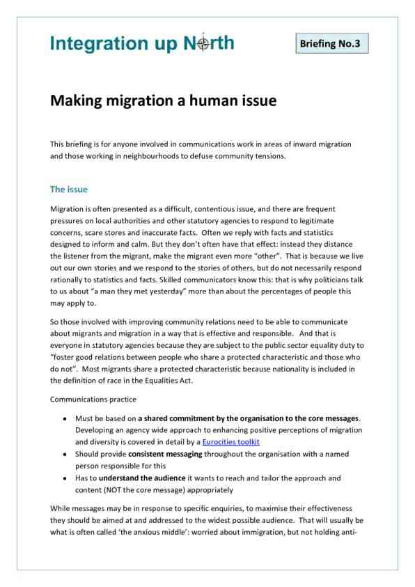 Briefing 3 - Making Migration a Human Issue