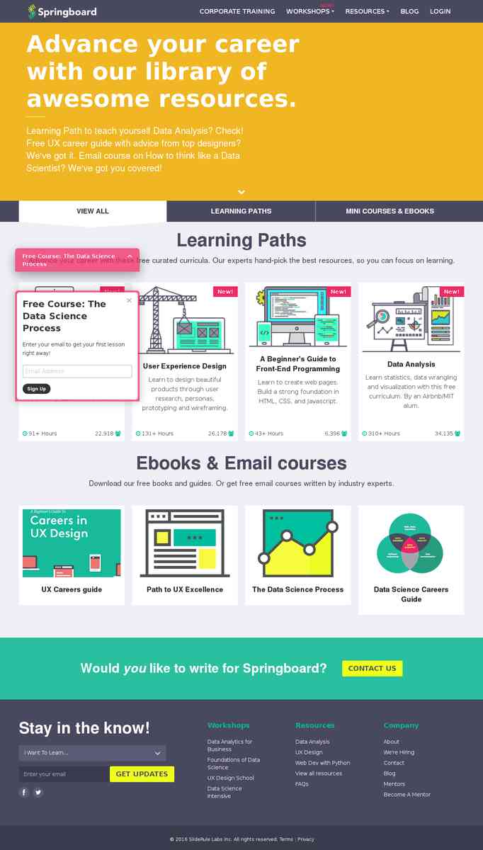 Learning Paths, Ebooks and Resources | Springboard