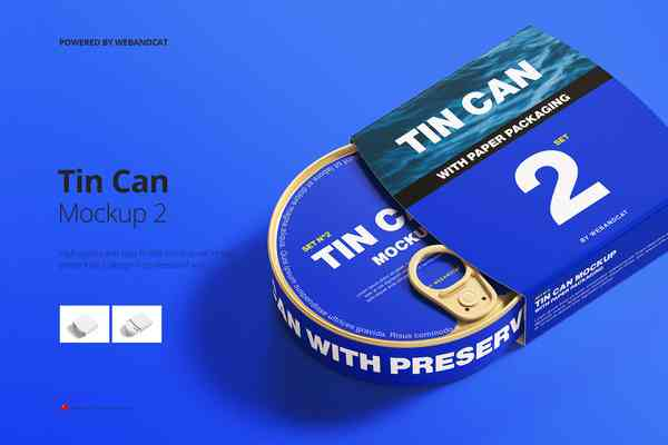 $ Tin Can Mockup with Paper Packaging