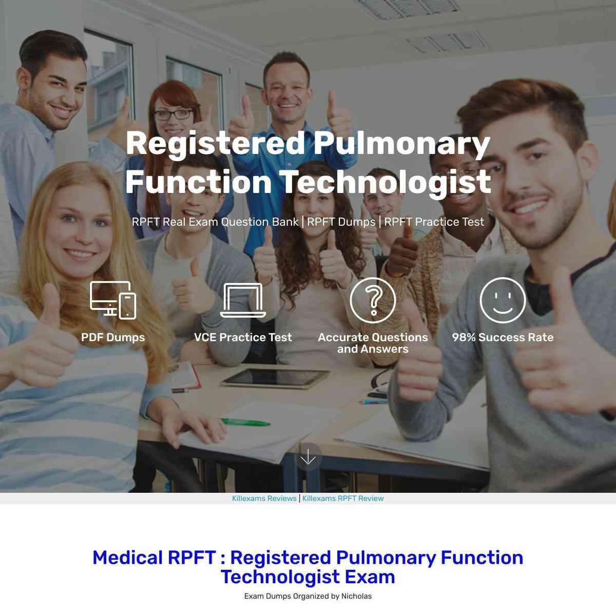 Pass4sure RPFT Registered Pulmonary Function Technologist exam cheat sheet