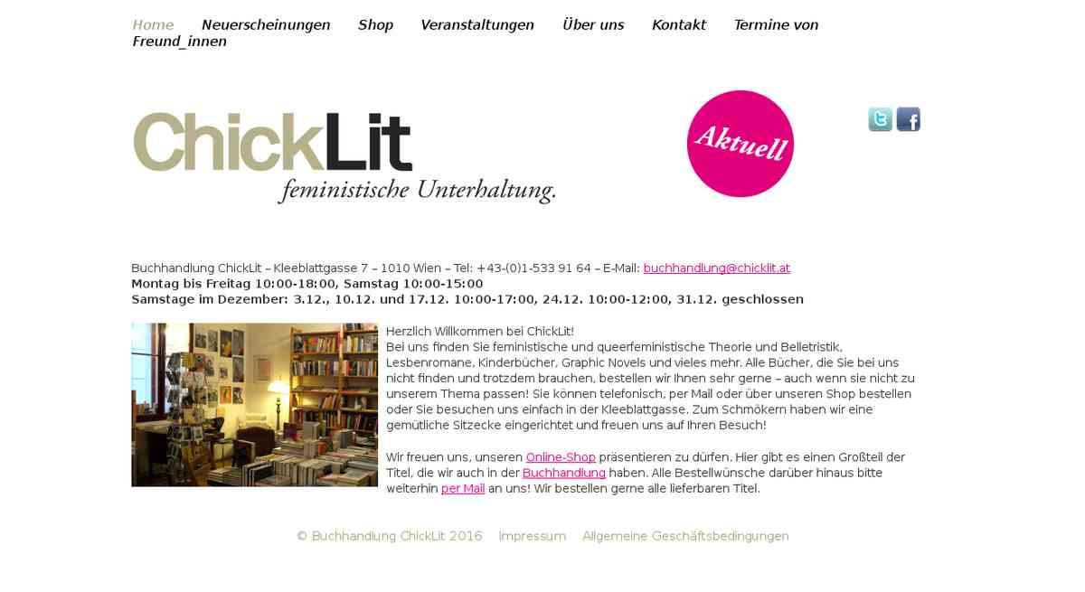 Buchhandlung ChickLit - feministische Unterhaltung.
