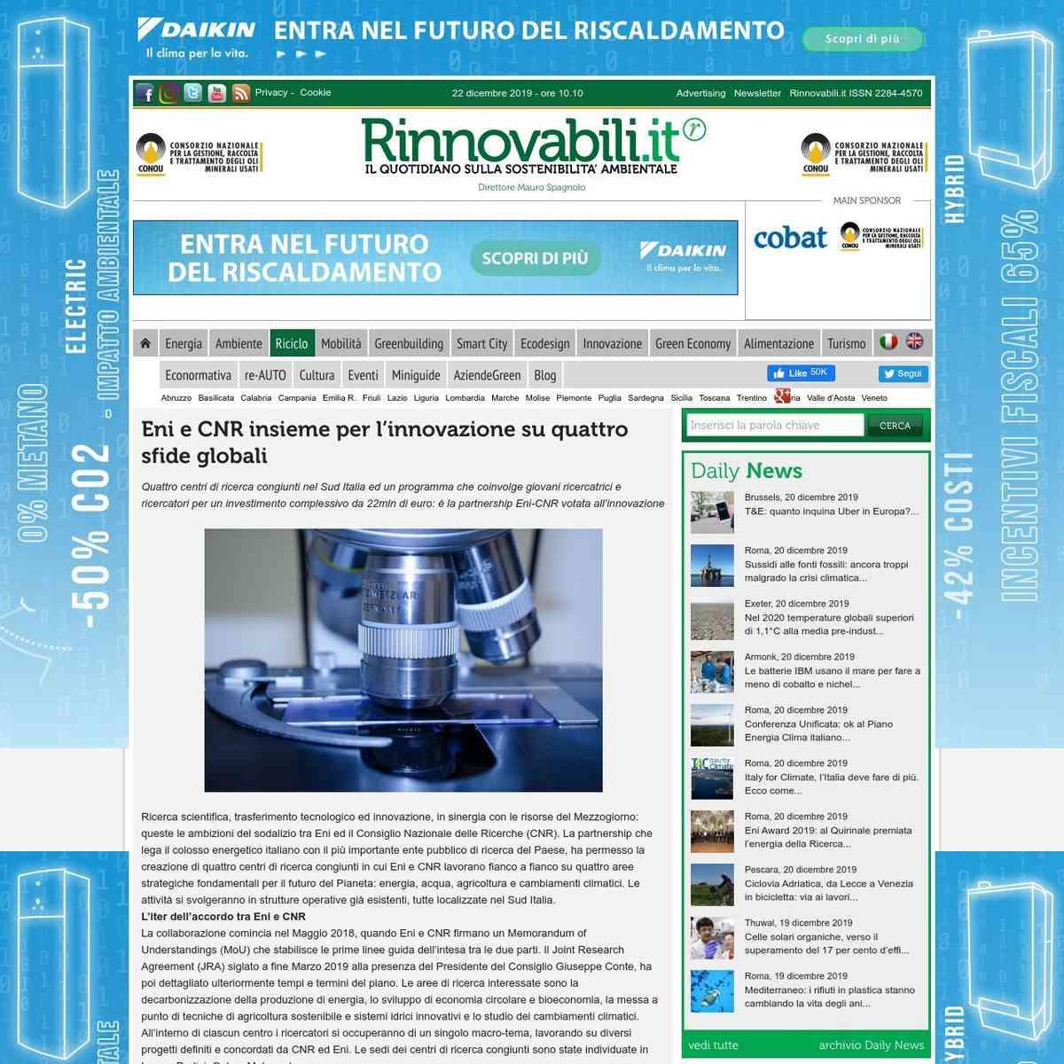 Eni CNR: Ricerca scientifica, trasferimento tecnologico ed innovazione