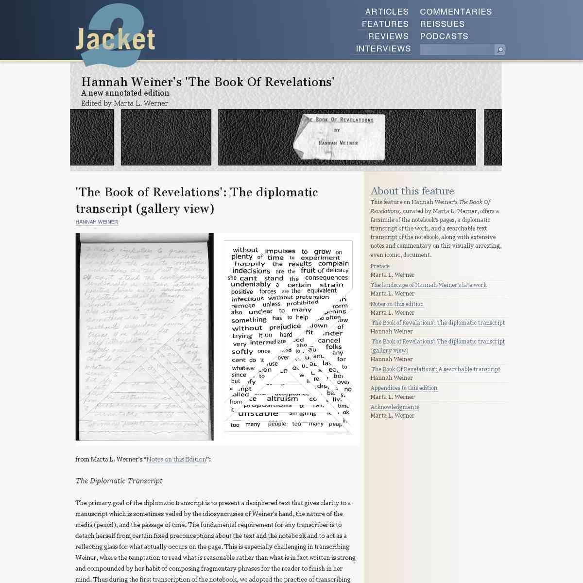 "Hannah Wiener: ""The book of revelations"" (diplomatic transcript)"