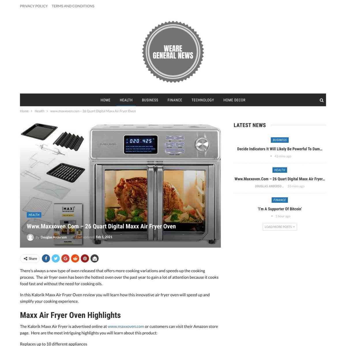 Maxx Oven Air Fryer Oven