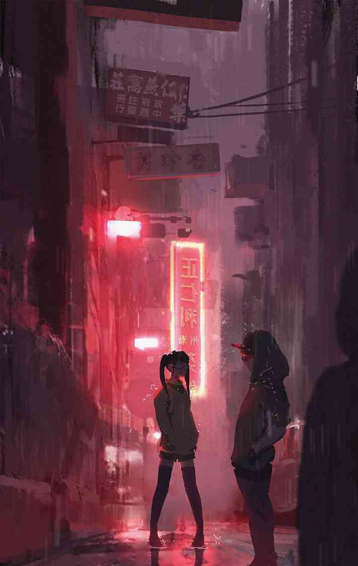 Rainy days in a cyberpunk city. Art by  snatti89on Deviantart.