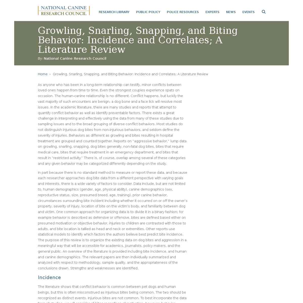 Growling, Snarling, Snapping, and Biting Behavior: Incidence and Correlates; A Literature Review | …