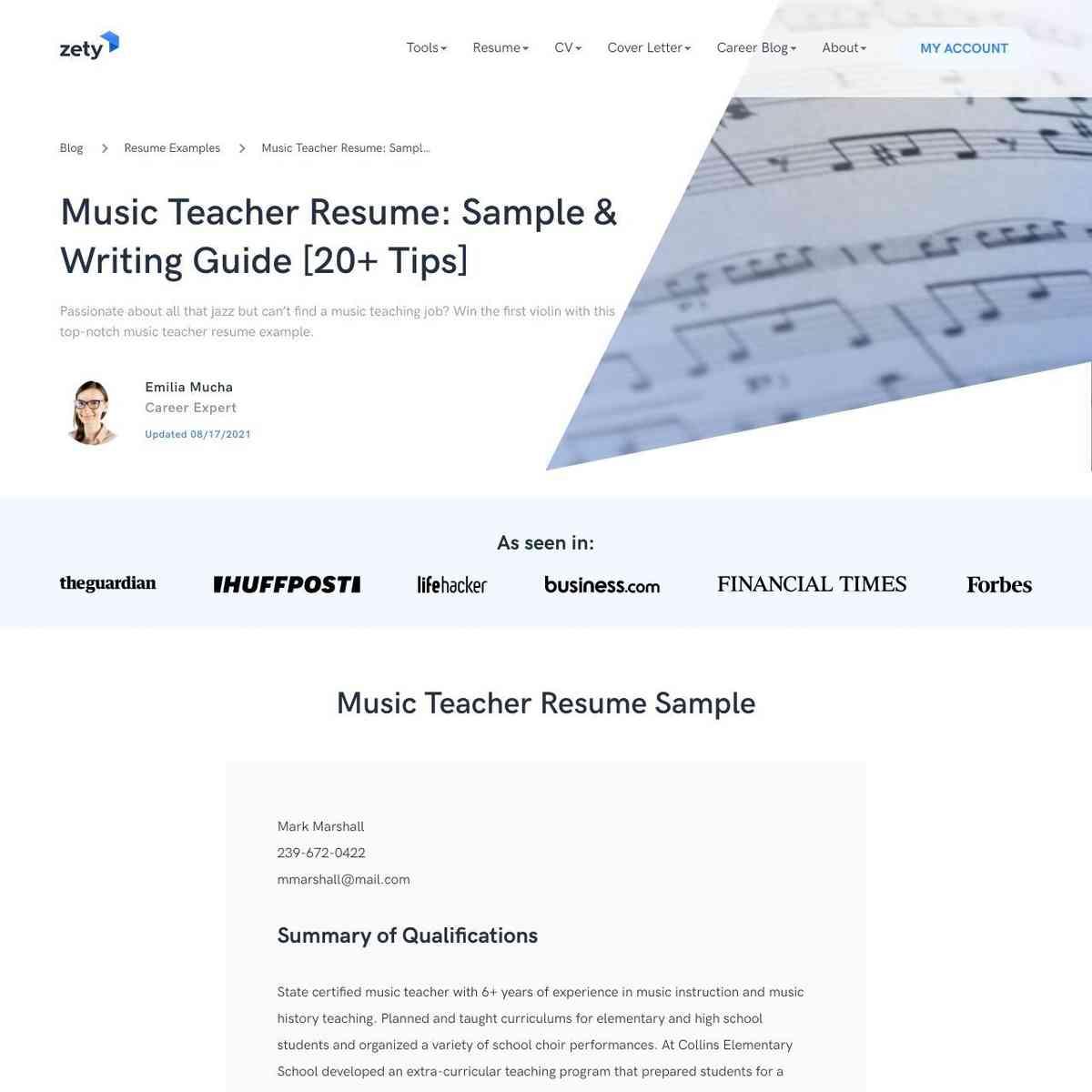Music Teacher Sample Resume