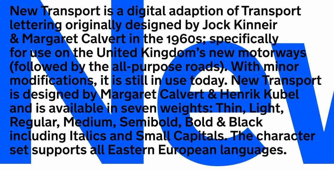 New Transport, Typeface