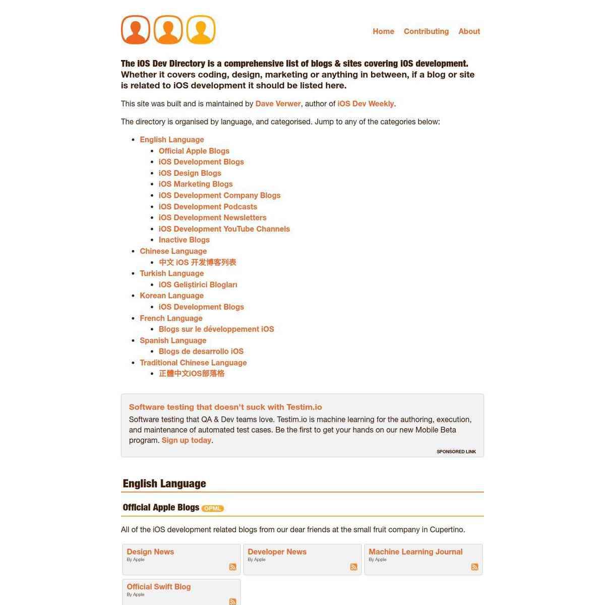 iOS Dev Directory: a comprehensive list of blogs & sites covering iOS development, design, marketing